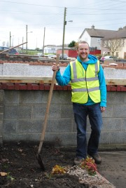 PJ GALLAGHER AS WORK BEGINS ON THE MAKE OVER OF GERY & BETTY MAHER'S FRONT GARDEN