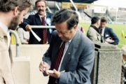 Michael O'Hehir signs autograph at Leinster Senior Football Championship semi-final (1984) The Sunday Game Image Ref. No. 2234/099