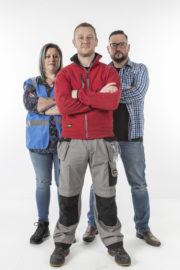 Jennifer Byrne, PJ Gallagher, Michal Dachowski. THE BIG DIY CHALLENGE RTE ONE