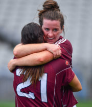 óisín Leonard, right, and Fabienne Cooney of Galway, Ladies Football